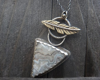Multi-metal Lace Agate and Feather Pendant