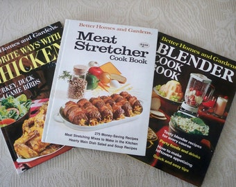 Vintage Cook Book Set Blender Chicken Meat Stretcher Better Homes & Gardens Instant Collection Cooking Collectibles