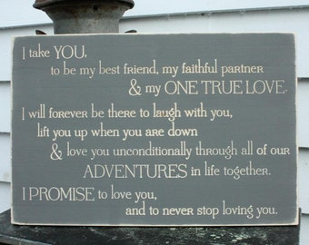I Take You - Wedding Vows Carved Wood Sign Set of 3 - 16x24 Rustic Engraved Distressed Romantic Promise Sign