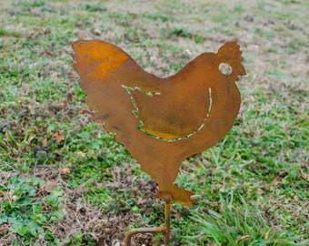 Metal chicken yard stake - Outdoor metal rooster stake - Hen flowerbed garden stake - Outdoor living rooster art - Rooster silhouette stake