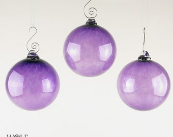 Blown Glass Christmas Ornament Holiday Tree Decoration Amethyst Purple Glass Bulb Ornament