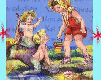 Vintage MERBABIES MERMAIDS POSTCARD Print Fabric Block Mermaid Applique For Quilt merb01.