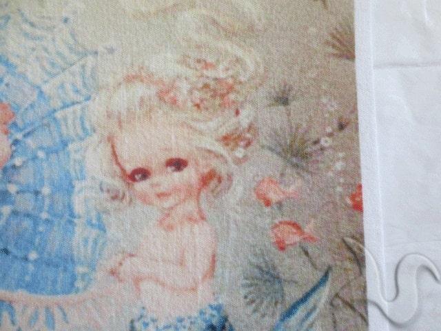 Vintage mermaid fabric 1950 39 s retro baby mermaid quilt for Retro baby fabric