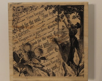Time Began In A Garden Collage woman Dogwood dragonfly Rubber Stamp