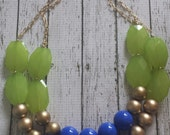 Lime Green, Gold, and Royal Blue  Chunky Statement Bib Necklace...Purchase 3 or more get 10% off