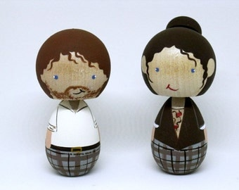 Outlander Jamie Fraser and Claire Fraser Kokeshi Collectable Peg Dolls / wedding cake topper / Ready to ship