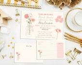 SALE. Digital Printable Mason Jar Bridal Shower Invitations & Recipe Card. Bridal. Party Invite. Bridal Shower. Wedding. Mason Jar Invite.