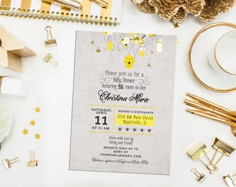 SALE. Digital Printable Mom to Bee or Bride to Bee Shower Invitations. Bee Invites. Bee Hive Invite. Hanging Honey Jar. Bride-to-Bee