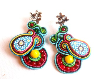 statement mosaic earrings , cherry yellow earrings , morrocan  zelij jewelry , ethnic inspiration , color block jewelry , spring summer