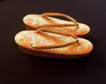 Vintage Japanese Formal Zori Sandals - Kimono Shoes - Orange Green Gold Shoes - Vintage Zori - Japanese Shoes