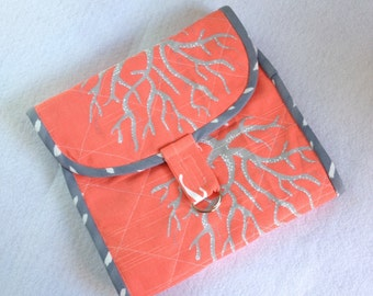 Craft Clutch in coral and gray beach motif, tri fold notions organizer, toiletries case with zipper pockets, sewing, hobby, traveling