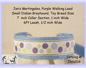 "Jan's Martingales, Light Blue Collar Leash Combination Walking Lead, Italian Greyhound, Small Dog Size, 7"" Collar Section, Iblu016"