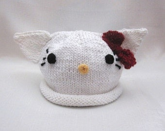 Knit Hello Kitty Cotton Baby Hat with red bow, great photo prop