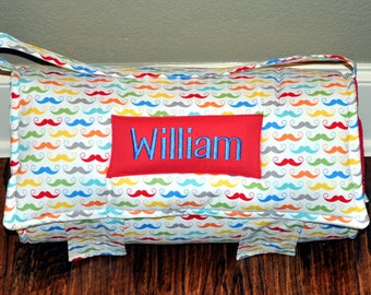 Nap Mat - Monogrammed Geekly Chic Mustache on White Nap Mat with Red Minky Dot Blanket