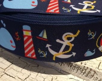 "3 yards 1.5"" Nautical Whale Lighthouse Anchor Blue Ocean Grosgrain Ribbon"