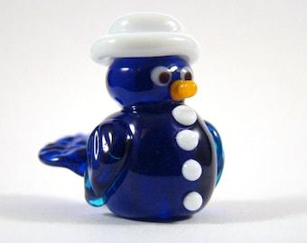 Lampwork handmade glass bead Mr Top Hat Bird cobalt blue
