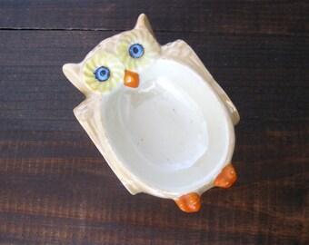 Vintage Owl Trinket Dish, Lusterware Made In Japan