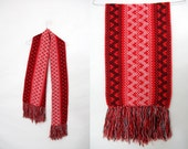 Vintage scarf / red fringed scarf with hearts