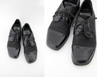 Vintage shoes / Cesaretti Italian black oxfords / size 40, W9, M7.5