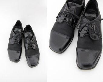 Vintage shoes / Cesaretti Italian black oxfords / size 40, W9, M7.5