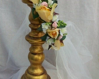 Wedding Yellow Rose Laurel Crown, with pink and white tiny Roses accents and Ivory netting