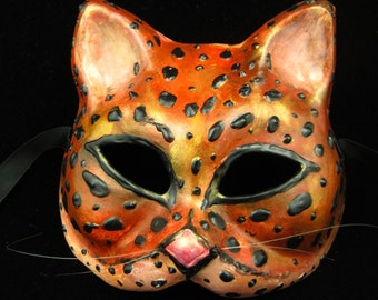 Sale! Leo Mask, leopard inspired cat shaped paper mache mask for masquerade