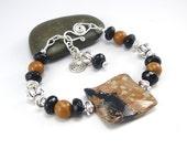 Earthtone Bracelet, Square Bracelet, Sterling Silver, Chunky Bracelet, Jasper Jewelry, Large Bead Bracelet, Geometric Bracelet, Gift for Her