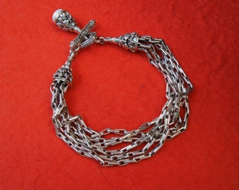 Balinese Chain sterling Silver Bracelet with white mabe pearl as a pendant / Silver 925 / Bali handmade jewelry.