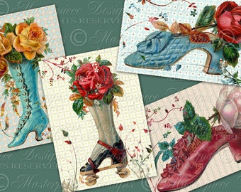 Shoes and Roses Tag Designs - Printable 2.5x3.5 Inch Designs Hang Tags, Instant Download and Print Digital Sheet