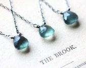 March Birthstone Necklace Aquamarine Gemstone Necklace Silver Necklace Sterling Silver Birthstone Jewelry - Pisces