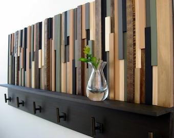 Wood Coat Rack with Shelf, Rustic Wood Sculpture, Coat Hooks, Modern, Home Decor