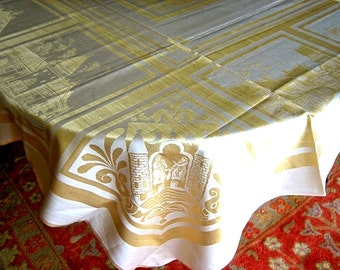 Tablecloth Vintage BUT NEW UNUISED Irish Damask Gold Yellow Golden Castles 66""