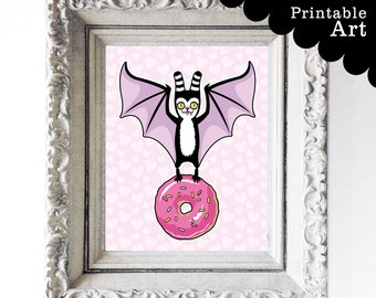 Bat and Donut Printable Artwork - Instant Download