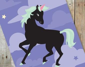 Black Unicorn Greeting Card
