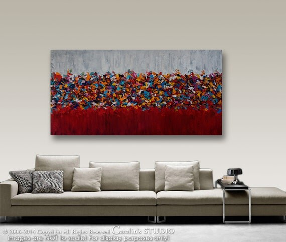 """XXL 60""""x30""""  painting Abstract Painting Original Painting Palette Knife Painting  Modern Painting Art by Catalin LARGE"""