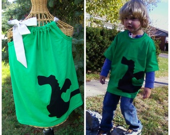 Brother and Sister Dragon Tshirt and Pillowcase Dress Wrap Around Silhouette Dragon