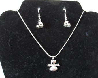 I Heart Football Necklace and Pierced Earring Set  I  Heart Football Necklace and Pierced Earring Set