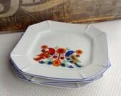 Vintage Mid Century Bird Plates Colorful Vibrant Japan