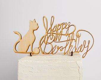 A Cat Lovers Birthday Cake Topper