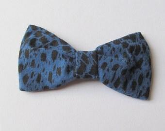 Hair Bow - Blue Leopard