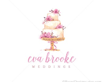Watercolor Bakery Logo Design and Branding -Photoshop PSD Business Branding Hand Drawn Logo Watermark Wedding Cake Patisserie