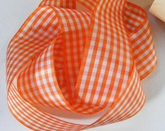 Vintage English Rayon Check Ribbon 2 1/16 Inch Gorgeous Orange and White