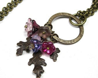 Czech Glass and Vintaj Brass Boho Chic Vintage Style Necklace, Pink, Purple, Violet, Fuchsia, Woodland Nature Gift Ideas for Gardeners