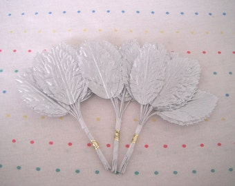 "Silver Lame Fabric Millinery Leaves, 2"" Long (36)"