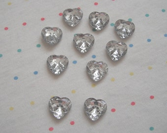 Clear Jewel Faceted Heart Buttons, Sew Through Buttons (10)