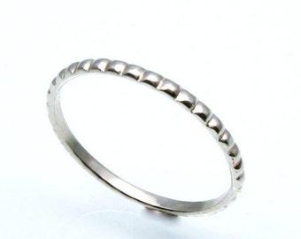 Elizabethan, 14k White Gold Beaded Wedding ring, Handmade in Maine