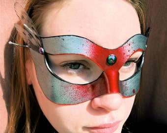 Silver Leather Base Mask with red spatter and dragonfly wings