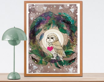 The Great Owl Print - Gift for Owl Lovers - Wall Art - Home - Office -Birthday Gift - Gift for Friends - Gift for Family-  A4 A3 Print