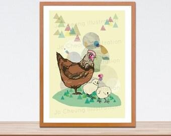 Hen and Little Chicks Fine Art Print - Wall Art - Gift for Babies Newborn and Children - Art for Nurseries - Chicken Artwork