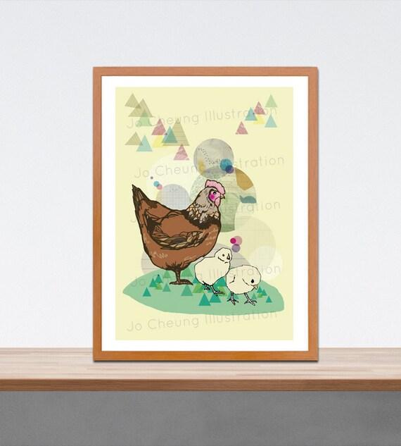 Hen and Little Chicks Print